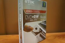 TDK Video DVD+RW 4.7 GB (5 pack) NEW SEALED IN PLASTIC