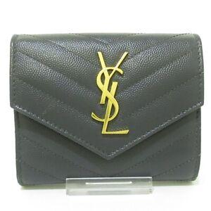 Auth SAINT LAURENT PARIS 403943 Dark Gray Gold Leather Hardware Trifold Wallet