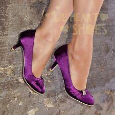 Ladies Satin Evening Shoe Womens Low Kitten heel Closed Toe Pumps size 3-8 30426