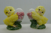 "Vintage Chick & Egg Ceramic Salt & Pepper Shaker Set - 2.75"" Tall"