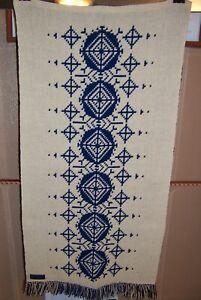 "Kasinkudottu Handwoven wall hanging - 20""x40"" - double sided cream/navy"