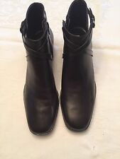 Michelle D Brown Leather Zip Ankle Boot Women Sz 9 1/2M NWOB
