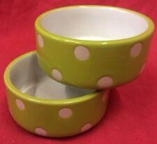 """Hamster Bowls x 2 POLKA DOT 3"""" Round Dish Water Food Seed OR TREAT BOWL Rabbits"""