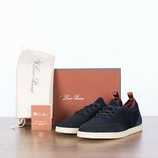 LORO PIANA 895$ Navy Blue Soho Walk Slip-On Sneakers From Suede & Wish Wool