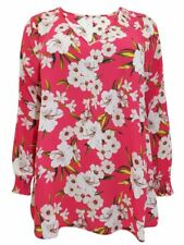 Brand New Ex Evans Raspberry Pink Floral Printed Chiffon Blouse Top Size 14-30