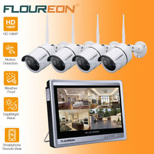 """FLOUREON 8CH 1080P Wireless CCTV Security System Outdoor Camera 12"""" LCD Monitor"""