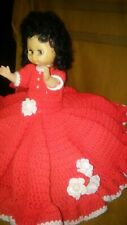 "Beautiful 12"" Baby Doll; Red Knitted/ Crocheted Dress with Rose Accents"