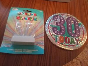 30th Birthday Light Up Flashing Number Candle Holder And  New Large Badge