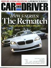 Car and Driver Magazine August 2010 BMW 5-Series, Infiniti M37, Audi A6 3.0T