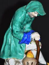 DRESDEN FIGURE OF A HOODED TRAVELLER STUNNING FIGURINE HANDMADE PORCELAIN
