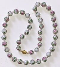 "Vtg Cloisonne Enamel Necklace 27"" Knotted White Beads Pink Blossoms Green Leaves"