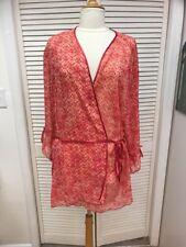 Susan Lucci, Gorgeous Semi Sheer Printed Wrap Robe, Plus Sz 3X, EUC!