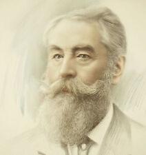 Paul Leprunier dessin au crayon et réhauts de gouache portrait d'un homme barbu