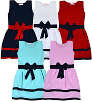 Girls Party Dress New Kids Sleeveless Dresses Summer Outfit Waffle Age 3-14 Yrs