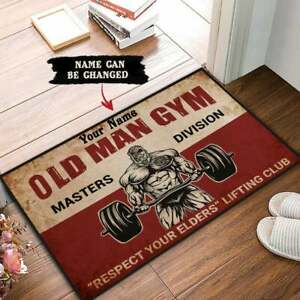 Personalized Old Man Doormat Fitness Centre Welcome Mats Gift For Gymers 3 Sizes