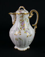 Redon Limoges Chocolate Pot, Antique c1891 Dianthus Flowers Heavy Gold Filigree