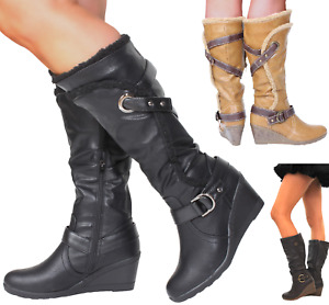 Womans Calf Knee Fit High Wide Wedge Heel Tan Brown Black Winter Fur Vegan Boots