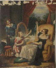 Gouache et aquarelle par Meslier époque romantique scène d'intérieur