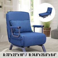 Folding Sofa Chair Chaise Lounge Single Sleeper Bed Arm Chair Leisure Recliner