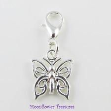 Shiny Silver Plate Filigree Butterfly Charm fit Clip on Charm Bracelet