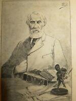 Hermann VOGEL Gravure PORTRAIT IVAN TOURGUENIEV POESIE REALISME RUSSIE Тургенев