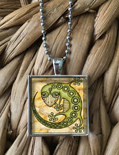 Cute Lizard Reptile Gecko Tribal Glass Pendant Silver Chain Necklace New