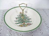 Spode England Christmas Tree 10-3/4 Tibit Tray #S3324 Santa on Top & Gold handle