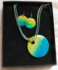 Blue and Green shell seed bead necklace and earrings set