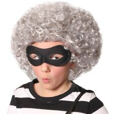 Childs Gangster Gangsta Granny Curly Grey Wig Bandit Mask Fancy Dress Book Week