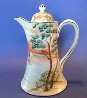 Hand Painted Chocolate Pot Or Teapot - Tree In The Meadow Swans - Nippon Japan
