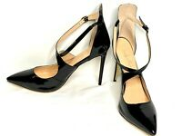 "Only Maker Strappy High Heel Shoes Black Patent Size EUR 44 Heels 5"" High Backed"