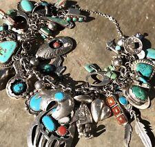"Vintage Navajo/Southwest 40 Charm Bracelet Sterling/Turquoise/Coral 8"" 112grams"