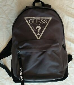 GUESS Vintage 1980s Style Grey School College Backpack Nylon Logo Bag Purse Tote