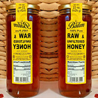 RAW HONEY (2 Jars) 44oz Total UNFILTERED KOSHER 100% PURE 22oz Each in Glass Jar