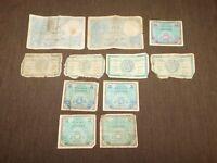 VINTAGE NOTES BILLS MONEY 11 WWII FRANCE FRENCH FRANCS 1939 1941 1942 1944