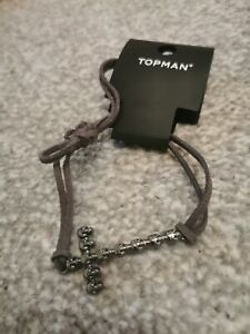 Mens Skull And Cross Bracelet By Topman, Metal & Grey Leather Strap