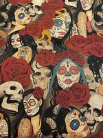 "Nocturna Skulls Ladies Roses Tattoo Fabric - 18"" x 44"" - Same Day Shipping"