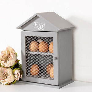 Grey Egg Holder Crate Wooden Wall 12 Unit Rack Chic Decoration Vintage Home