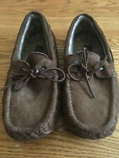 Clarks Men's Suede Leather Faux Fur Lined Moccasin Slippers 9M brown BARELY USED
