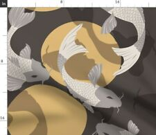 Carp Koi Fish Japanese Neutral Colors Fabric Printed by Spoonflower Bty