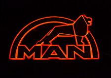 Big 3D Mirror 24V Sign LED Interior Light for all MAN Trucks 65 x 37 cm (red)
