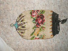 Victorian floral beaded drawstring pouch bag/purse 8 inches by 5 inches
