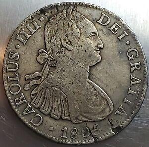 8 Reales 1805/4 TH Carlos IV Pillars Mexico SPANISH COLONY Very Rare Variety !!
