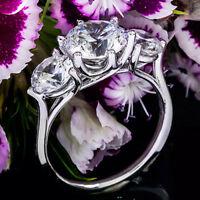 Three Stone 1.25 Carat VVS2/H Round Natural Diamond Engagement Ring White Gold
