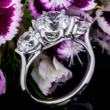 Three Stone 1.25 Carat VVS2/I Round Natural Diamond Engagement Ring White Gold