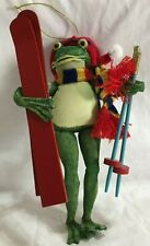 Frog  with skis Christmas Holiday Winter ornament decoration 8''