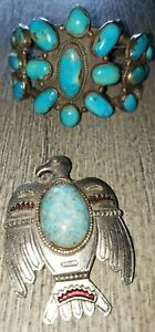 TURQUOISE METAL BRACELET MANY STONES BLUE WOMENS ONE SIZE VINTAGE? EAGLE PIN