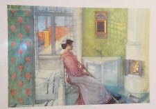 FINE ART LITHOGRAPH: Martina In Front Of The Fire By Carl Larsen 32 X 24