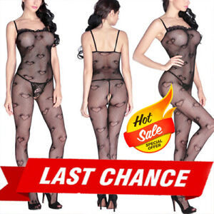 Womans Crotchless Heart Print Polka Dot Net Bodystocking Stocking Lingerie OS US