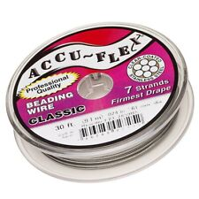 Lot of (2) Accu-flex Clear 7 Strand .024 Beading Wire - 30' Foot Spools Accuflex